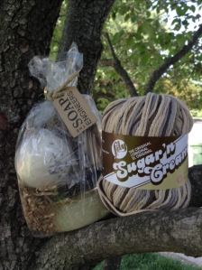 "The ""Crocheter's Relax Pack"" Bar of Honey Almond Soap, All Natural Citrus Sugar Scrub, Lavender Bath Truffle, Sugar 'n Cream Super Size Cotton Yarn"